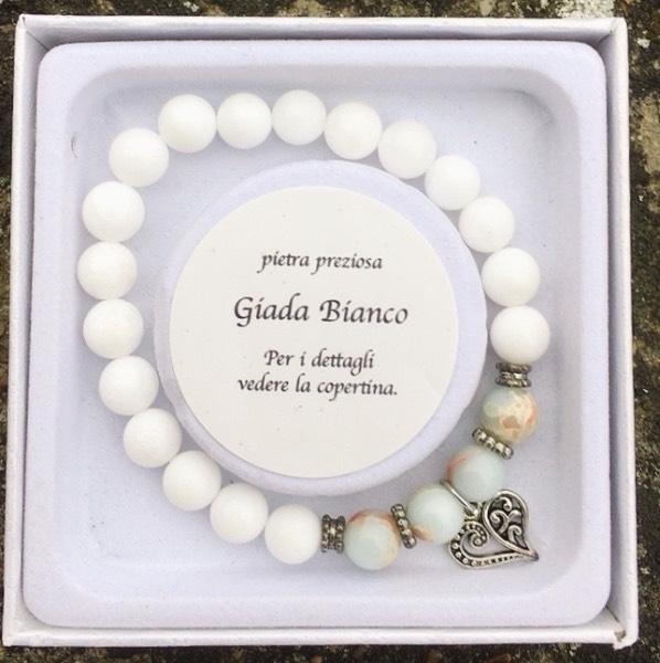 braccialetto giada bianca