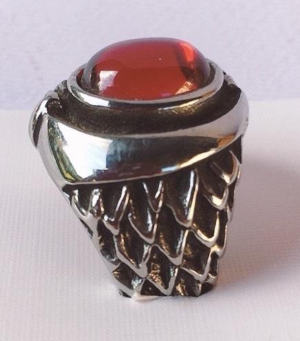anello acciaio pietra rossa