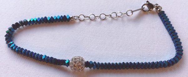 braccialetto perline blu