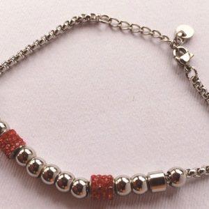 braccialetto strass rossi