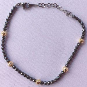 braccialetto sfere grigie e oro